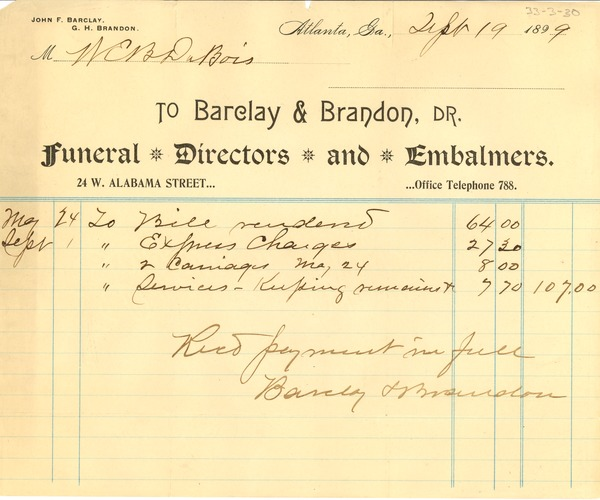 receipt for payment of funeral services september 19 1899