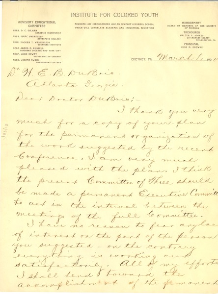 Letter from Hugh M. Browne to W. E. B. Du Bois, March 1, 1904