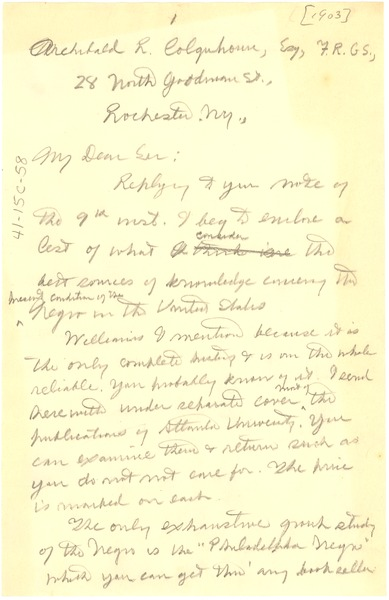 Letter from W. E. B. Du Bois to Archibald R. Colquhoun, ca. 1903