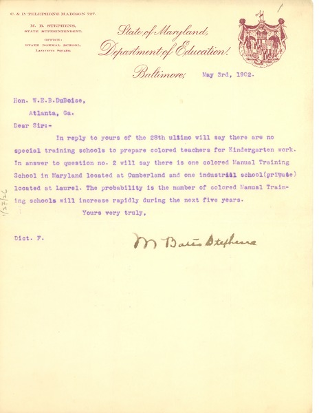 Letter from M. Bates Stephens to W. E. B. Du Bois, May 3, 1902