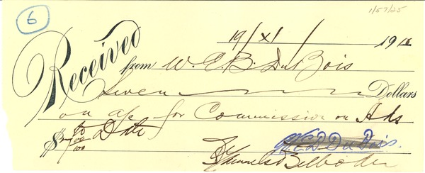 Receipt from W. E. B. Du Bois to NAACP, 1910