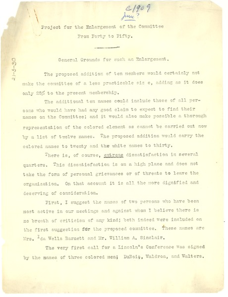 Proposal to the National Negro Committee, ca. 1909