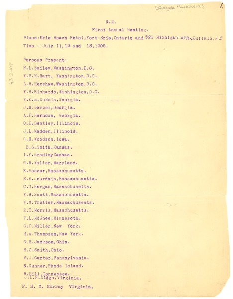 Niagara Movement first annual meeting attendance list, ca. 1905