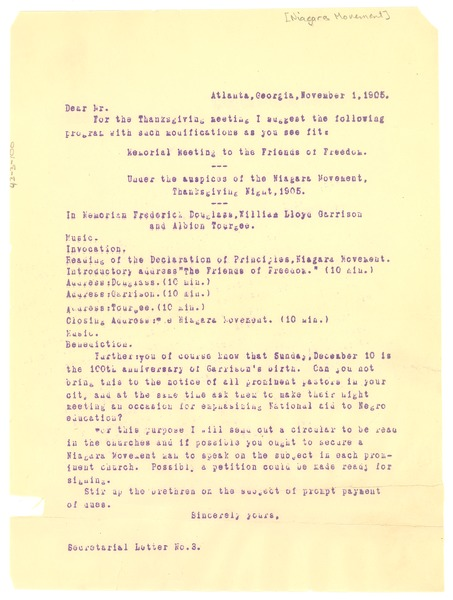 Niagara Movement Secretarial Letter No. 3, November 1, 1905