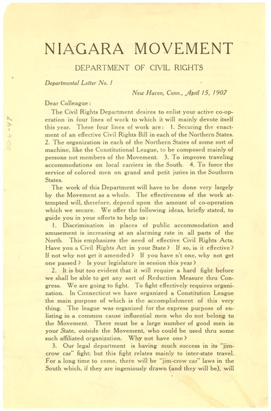 Niagara Movement Department of Civil Rights, department letter no. 1, April 5, 1907