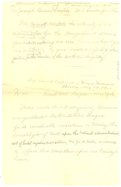 3rd annual conference of Niagara Movement draft of two letters, August 29, 1907