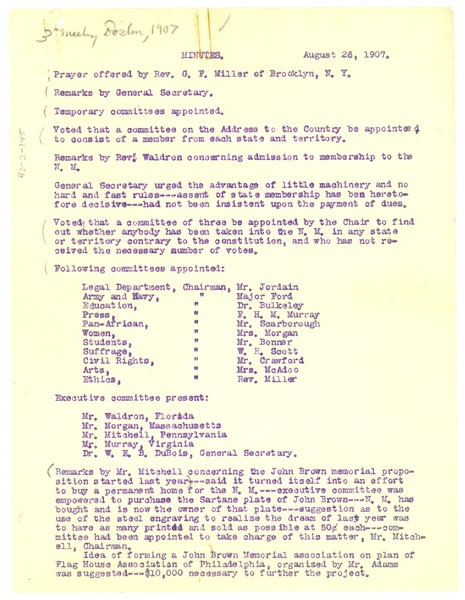 Minutes of the 3rd Annual Niagara Movement Meeting, August 26, 1907