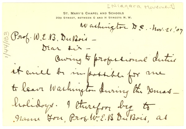 Letter from A. L. Mitchell  to W. E. B. Du Bois, November 21, 1907