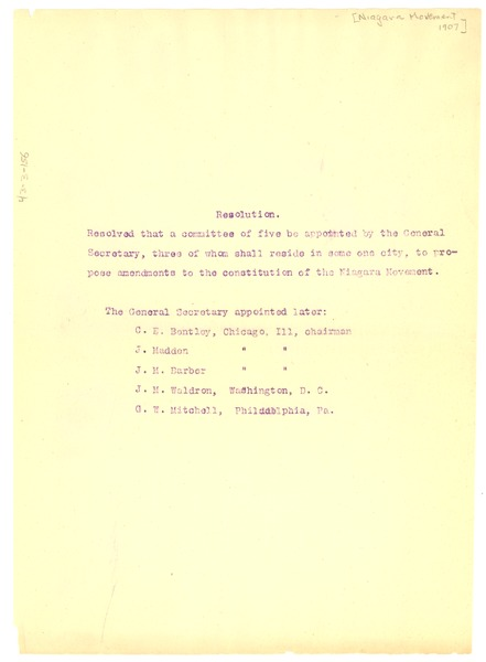 Niagara Movement Resolution, ca. 1907