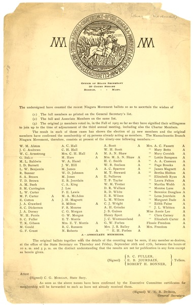 Niagara Movement 1907 Election Results, ca. August 1907
