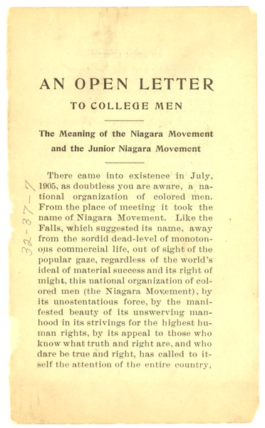 An Open letter to college men: the meaning of the Niagara Movement