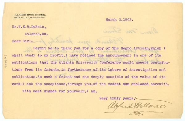 Letter from Alfred Holt Stone to W. E. B. Du Bois, March 2, 1903