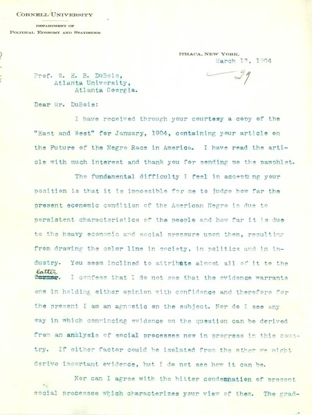 Letter from Walter F. Willcox to W. E. B. Du Bois, March 13, 1904