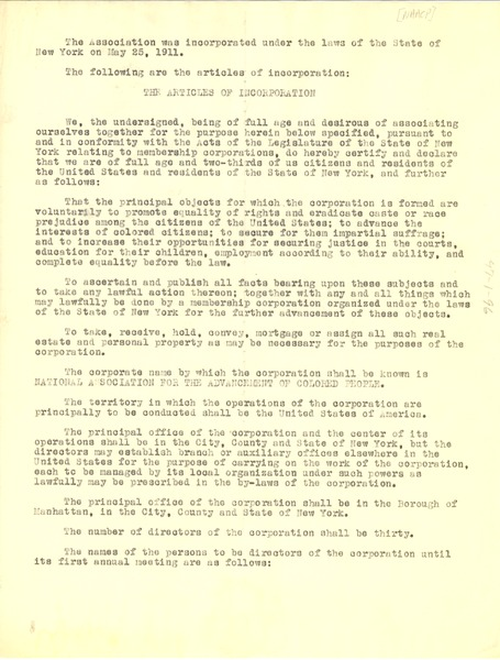 NAACP Articles of Incorporation, May 25, 1911