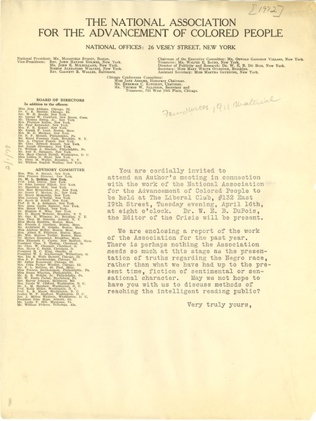 National Association for the Advancement of Colored People circular letter, ca. May 1912