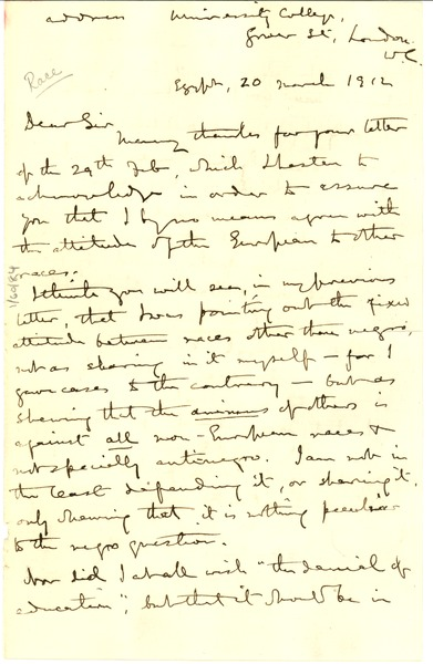 Letter from W  M  Flinders Petrie to W  E  B  Du Bois, March
