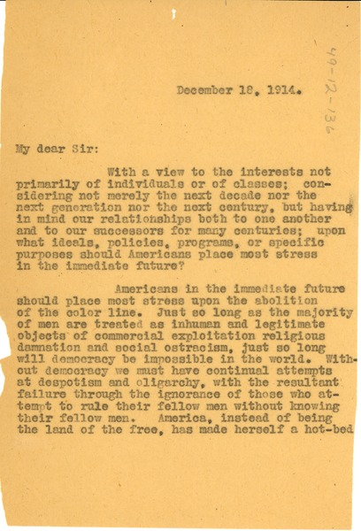 Letter from W. E. B. Du Bois to Albion W. Small, December 18, 1914