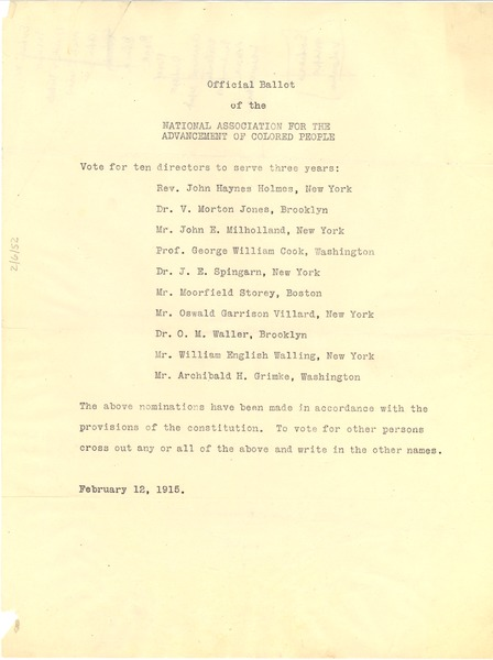 Official ballot of the National Association for the Advancement of Colored People, February 12, 1915