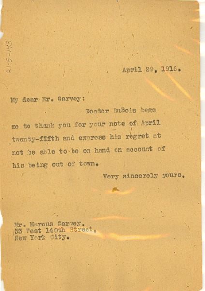 Letter from Unidentified correspondent to Marcus Garvey, April 29, 1916