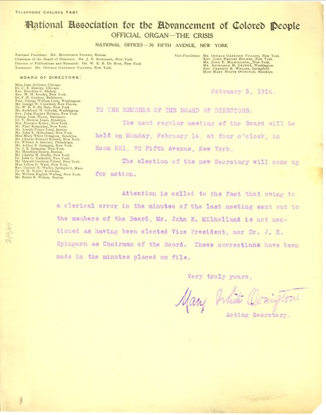 To the members of the Board of Directors, February 5, 1916