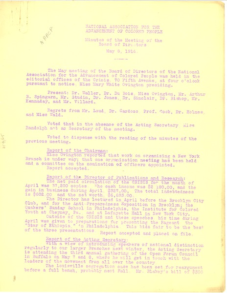NAACP Minutes of the meeting of the Board of Directors, May 8, 1916