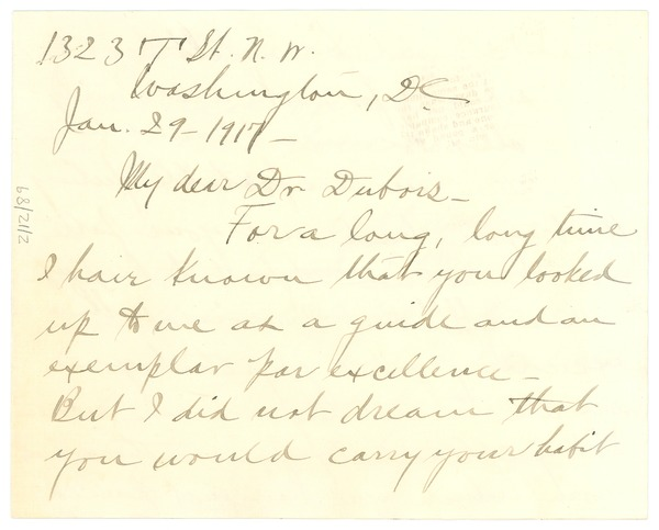 Letter from Mary Church Terrell to W.E.B. Du Bois, January 29, 1917