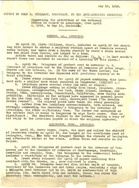 Report of John R. Shillady, Secretary, to the Anti-Lynching Committee, ca. May 13, 1918