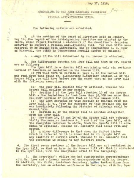 Memorandum to the Anti-Lynching Committee on federal anti-lynching bills, May 17, 1918