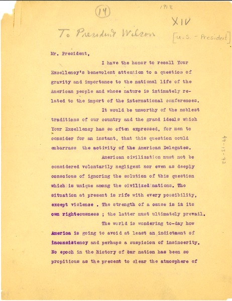 Letter from w e b du bois to president woodrow wilson ca letter from w e b du bois to president woodrow wilson ca november 1918 altavistaventures Images