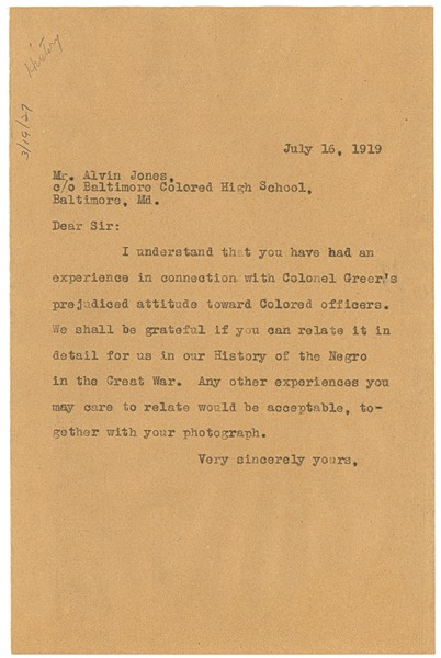 Letter from W. E. B. Du Bois to Alvin Jones, July 16, 1919