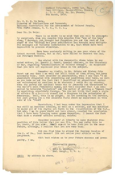 Letter from Earl W  McCowan to W  E  B  Du Bois, March 8, 1919