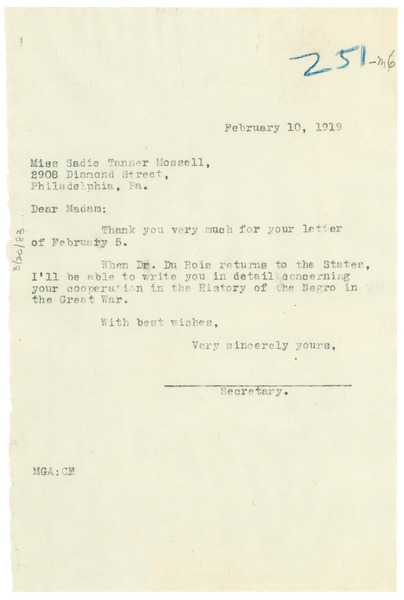 Letter from Madeline G. Allison to Sadie Tanner Mossell, February 10, 1919