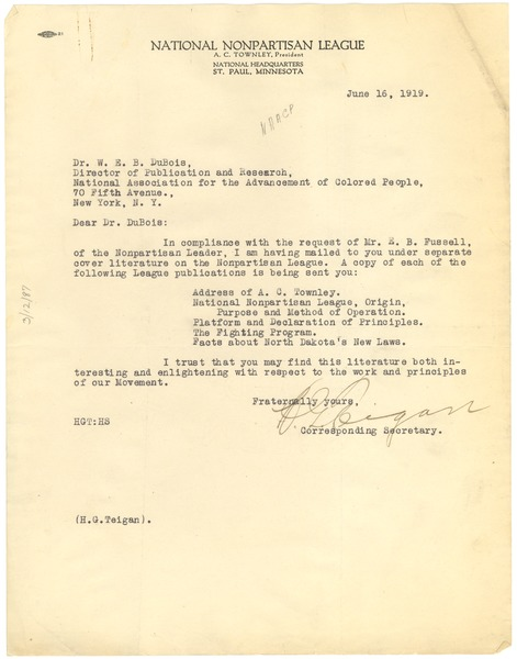 Letter from National Nonpartisan League to W. E. B. Du Bois, July 16, 1919