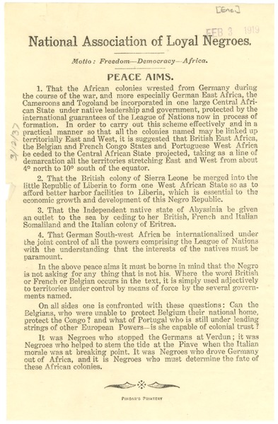National Association of Loyal Negroes: Peace Aims, ca. 1919