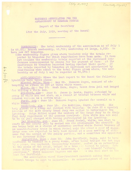 National Association for the Advancement of Colored People Report of the             secretary for the July 1919 meeting of the Board., July 10, 1919