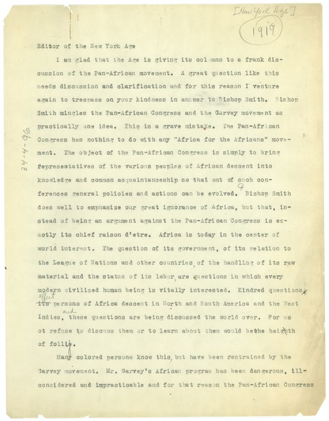 Letter from W. E. B. Du Bois to the editor of the New York Age, 1919?