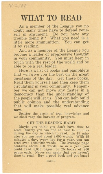 What to Read, 1919?