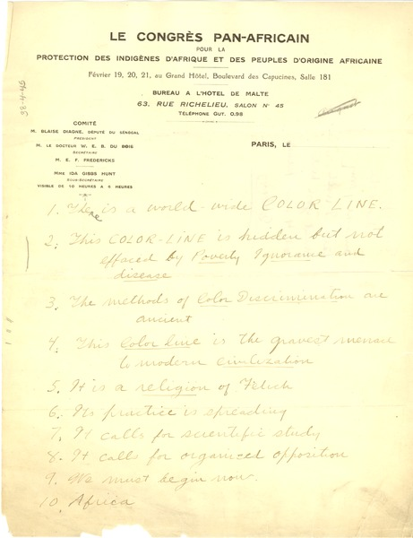 Outline of talk at the Pan African Congress, ca. February 1919