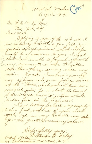 Letter from Willam D. Wiley to W. E. B. Du Bois, August 2, 1919