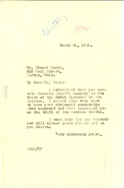 Letter from W. E. B. Du Bois to Edward Banks, March 31, 1920
