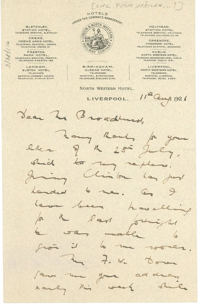 Letter from l e v mccarthy to robert broadhurst august 11 1921 thecheapjerseys