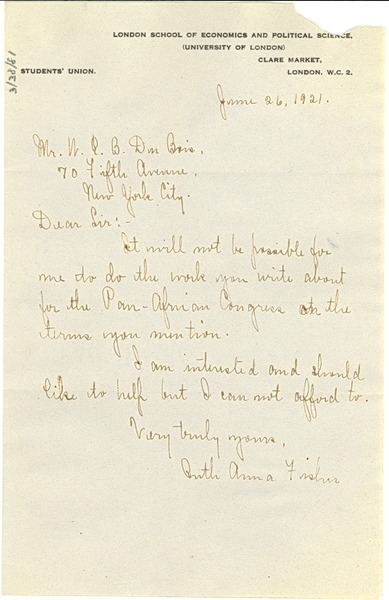 Letter from Ruth Anna Fisher to W. E. B. Du Bois, June 26, 1921