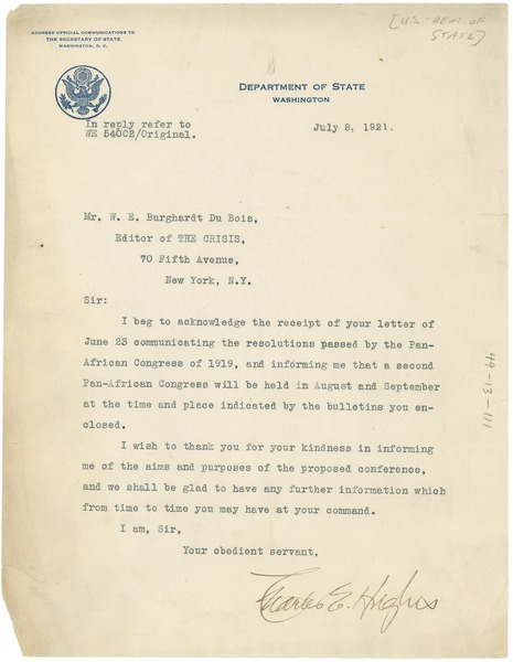Letter from United States Dept. of State to W. E. B. Du Bois, July 8, 1921