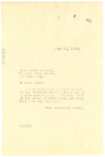 Letter from W. E. B. Du Bois to Mabel Rowland, June 25, 1922