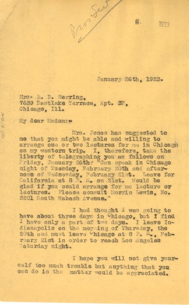 Letter from W. E. B. Du Bois to R. B. Herring, January 26, 1923