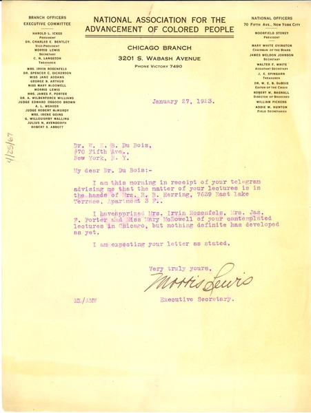 Letter from  Morris Lewis  to W. E. B. Du Bois, January 27, 1923