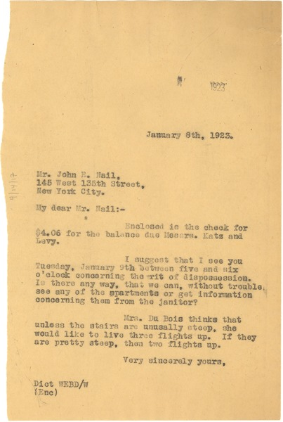 Letter from W. E. B. Du Bois to Nail &Parker Real Estate, January 8, 1923