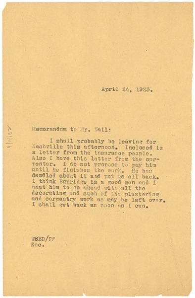 Memorandum from W. E. B. Du Bois to John E. Nail, April 24, 1923