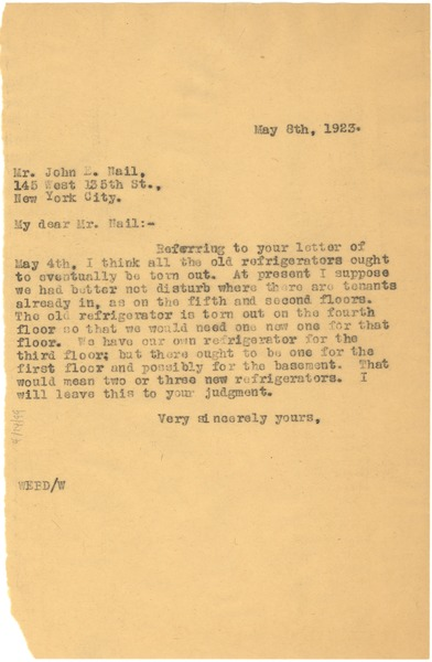 Letter from W. E. B. Du Bois to John E. Nail, May 8, 1923