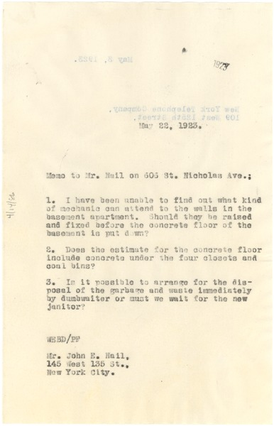 Memorandum from W. E. B. Du Bois to John E. Nail, May 22, 1923